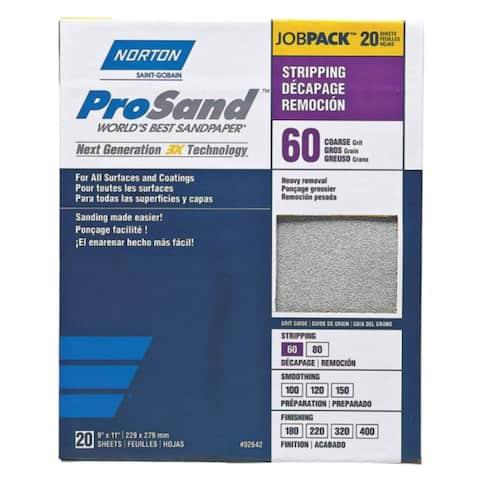 Norton 02642 3X High Performance Sanding Sheet, 60 Grit, 20/Pk