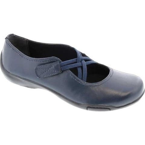 7f98a280a5e44d shoe width: Extra Narrow · 1. Ros Hommerson Women's Cozy Cross Strap Flat  Navy Leather