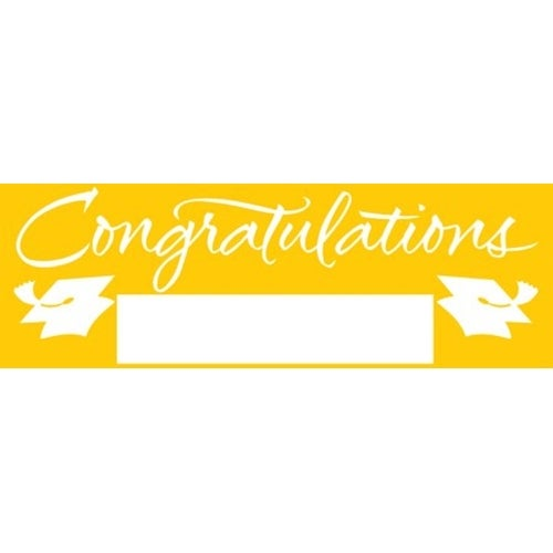 pack of 6 school bus yellow and white giant graduation party banners