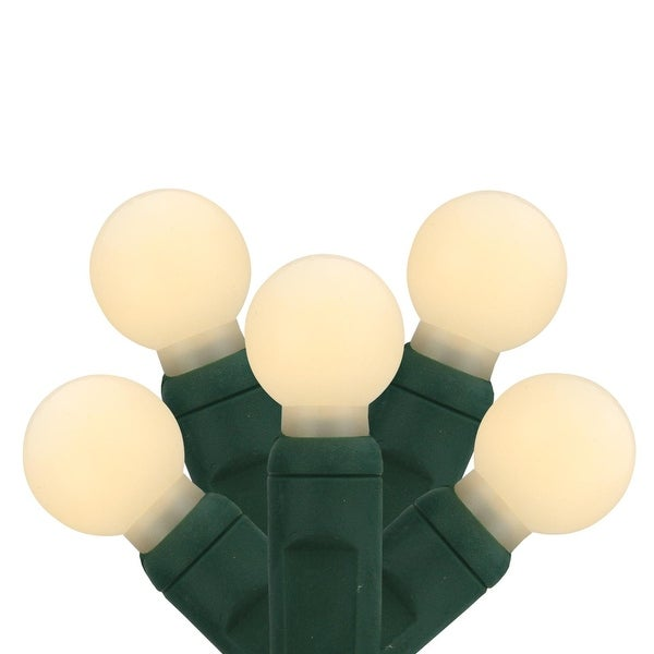 """Set of 35 Warm White LED G12 Berry Commercial Grade Christmas Lights 6"""" Spacing - Green Wire - CLEAR"""