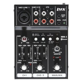 LyxPro MRB3 3-Channel Audio Mixer  Flexible, Compact Personal Pro Audio Mixer with USB & Bluetooth Connections
