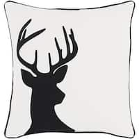 "18"" Jet Black and Polar White Decorative Country Rustic Holiday Throw Pillow"