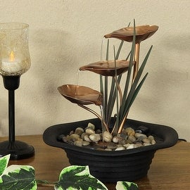 Sunnydaze Three Leaf Cascading Tabletop Fountain, 10 Inch Tall