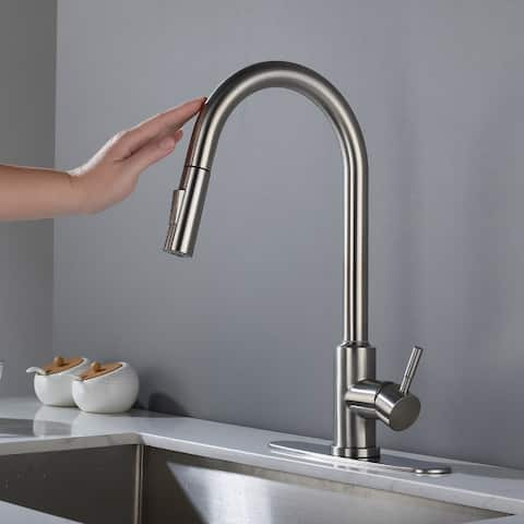 Brushed Nickel Pull Down Sprayer Touch Kitchen Faucet - 16.53*8.66*8.07