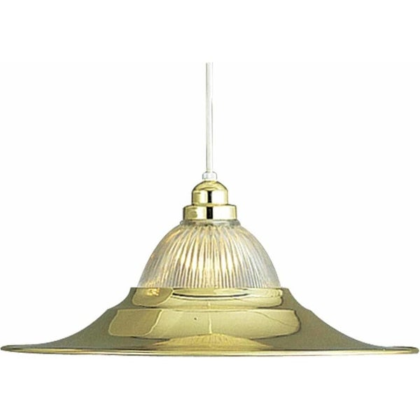 """Volume Lighting V1810 1-Light Down Light 7.75"""" Height Pendant with Clear Ribbed Glass Shade - n/a"""