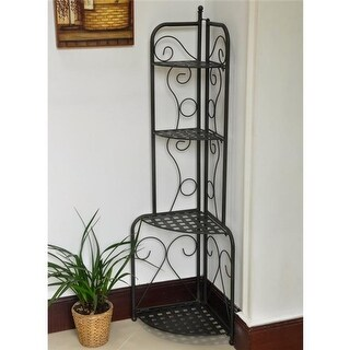 Mandalay Iron Folding Corner Bakers Rack, Antique Black