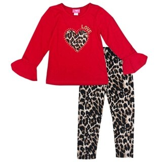 Little Girls Red Brown Leopard Heart Detail Flared Cuff 2 Pc Pant Outfit