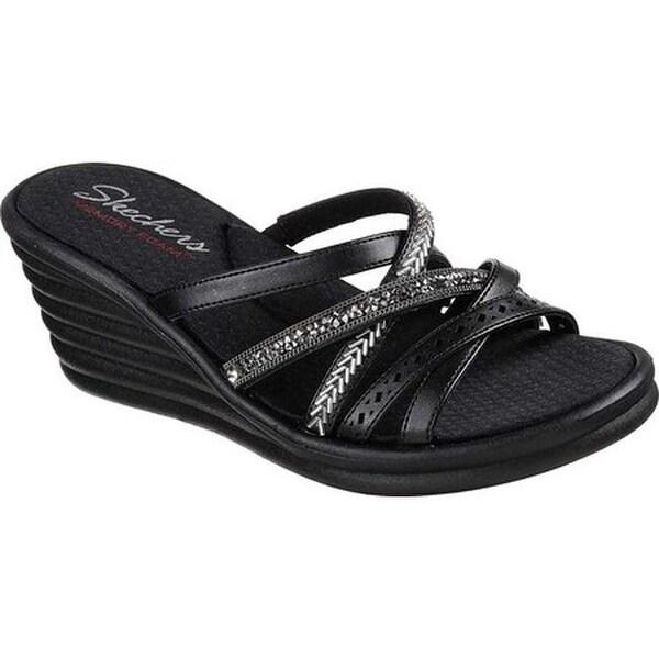 Skechers Women's Rumblers Wave New Lassie Slide Wedge Sandal Black