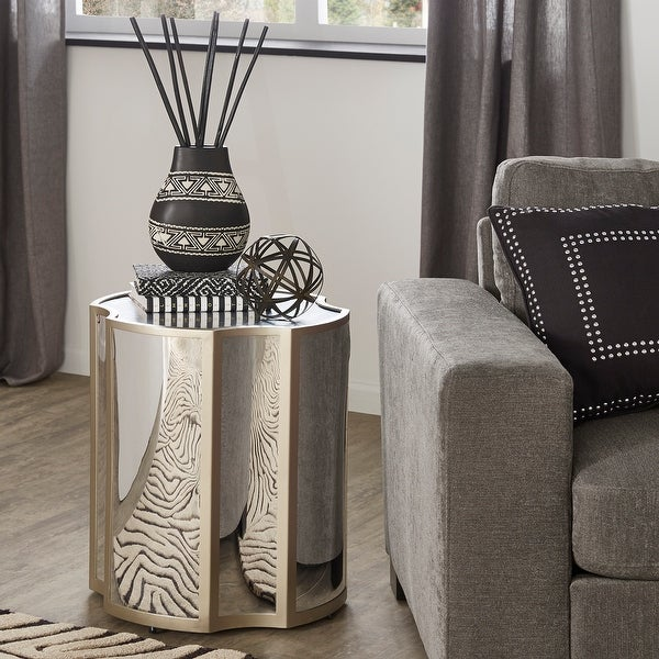 Stratos Champagne Silver Finish Antique Mirror Side Table by iNSPIRE Q Bold - Side Table. Opens flyout.