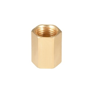 "Brass Pipe Fitting, 1/4"" G Female Thread Straight Brass Hex Rod Pipe Fitting - 1/4"" G Female"