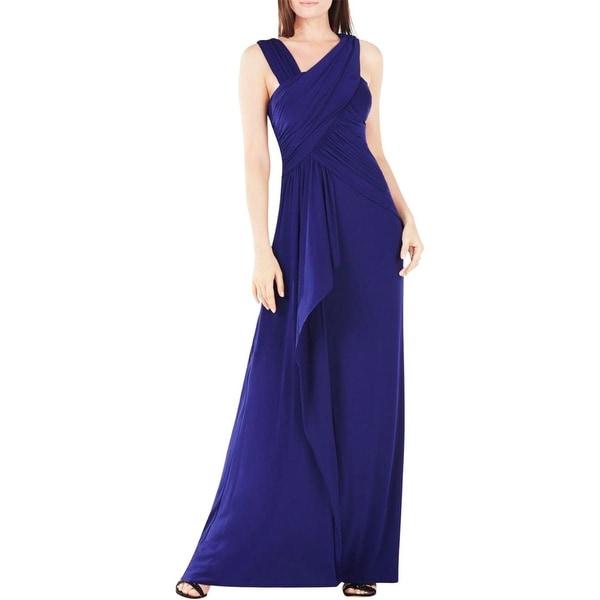 BCBG Max Azria Womens Morena Evening Dress Ruched Asymmetrical