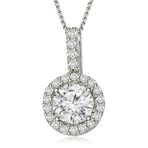 0.65 cttw. 14K White Gold Halo Round Diamond Pendant