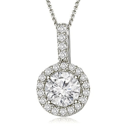 0.90 cttw. 14K White Gold Halo Round Diamond Pendant