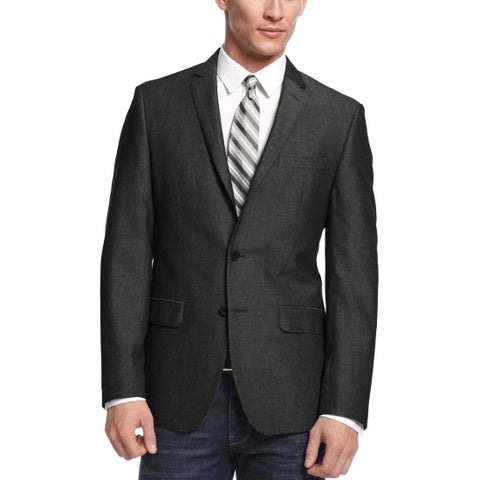 DKNY Mens 2-Button Sportcoat 38 Regular 38R Dark Grey Blazer