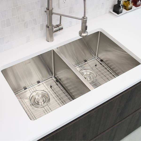 28 L X 18 W Stainless Steel Double Basin Undermount Kitchen Sink With Grids And Strainers Overstock 22578211