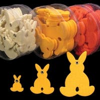 "Club Pack of 144 Yellow Fuzzy Felt Bunnies in Assorted Sizes 1"", 2"", 3"""