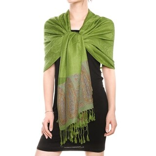 Unique Bargains Ladies Winter Warm Paisley Pattern Fringed Hem Thin Rectangular Scarf Green
