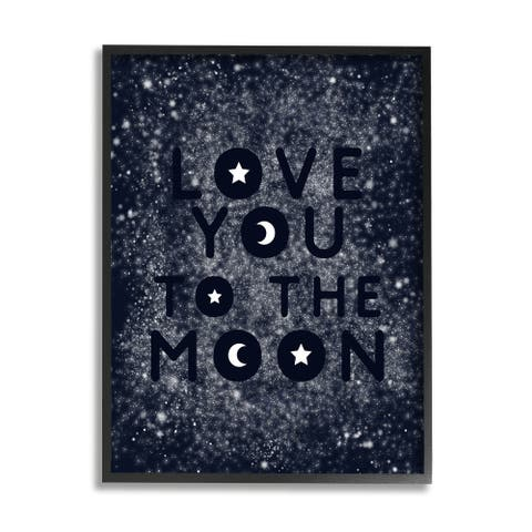 Stupell Industries Love You To Moon Starry Night Sky Typography Framed Wall Art - Blue