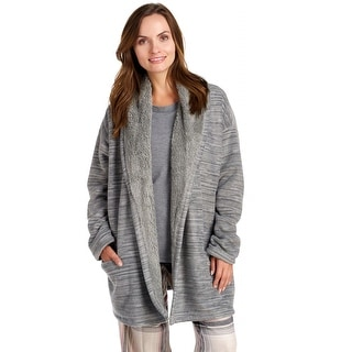 Hue Sleepwear Women's Marled Illusion Cozy Robe - Frost Grey