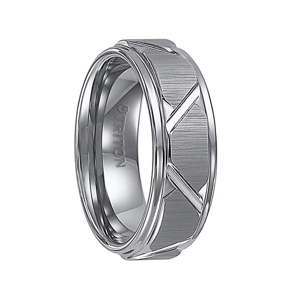 KEATON Step Edge Tungsten Carbide Comfort Fit Wedding Band Vertical Satin Finish and Diagonal Cuts by Triton Rings - 8mm