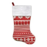 """22"""" Festive Red and White Snowflake Motif Sweater Knit Christmas Stocking"""