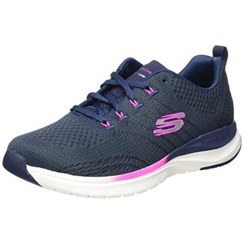 Skechers Women's Sneaker, Navy/Hot Pink, 10