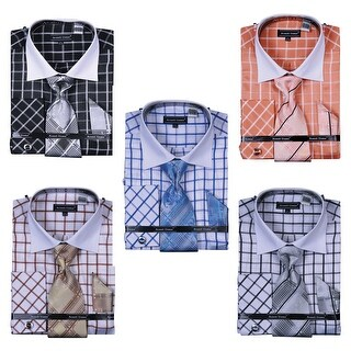 Men's Checker French Cuff Shirt Tie Hanky Cufflinks