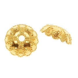 22K Gold Plated Beaded Dome Bead Caps - 7mm (50)
