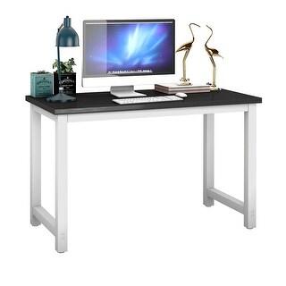 Gymax Black Wood Computer Desk PC Laptop Table Study Workstation