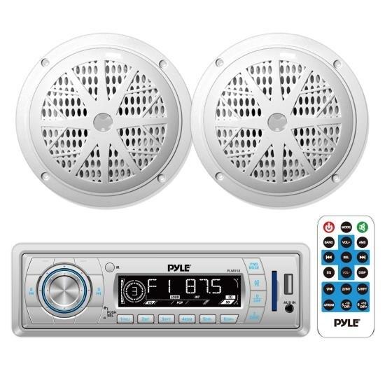 "In-Dash Marine AM/FM PLL Tuning Radio USB/SD/MMC AUX Input w/ Remote + Pair of 5.25"" 100W Speakers"