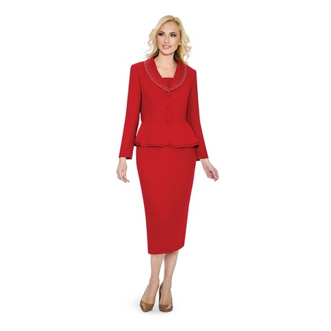 Giovanna Signature Women's Washable 2-piece Peplum Embellished Skirt Suit