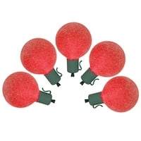 Set of 10 Battery Operated Sugared Red LED G50 Christmas Lights - Green Wire