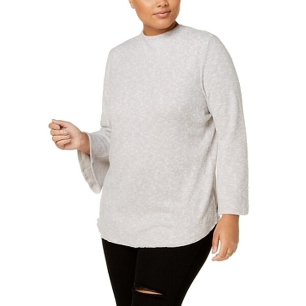 Derek Heart Gray Women's Size 3X Plus Bell Sleeve Pullover Sweater