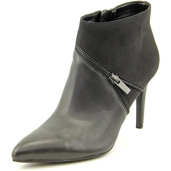 Bar III Festa Women Pointed Toe Canvas Black Ankle Boot
