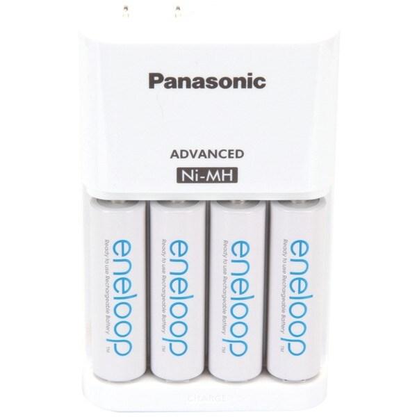 Panasonic K-Kj17Mca4Ba 4-Position Charger With Aa Eneloop(R) Batteries, 4 Pk