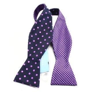 Countess Mara NEW Purple Houndstooth Polka Dot Reversible Silk Bow Tie