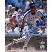 Darryl Strawberry Autographed New York Mets 8x10 Photo Grey Jersey BAS