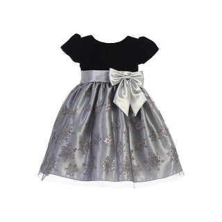 Lito Girls Silver Black Velvet Glitter Tulle Snowflake Christmas Dress