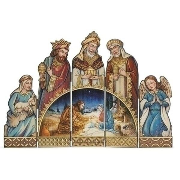 "18.75"" Joseph Studio Brown and Gold 5-Panel Folding Christmas Nativity Screen"
