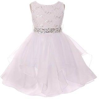 Flower Girl Dress Sequin Lace Top Ruffle Skirt White MBK 357