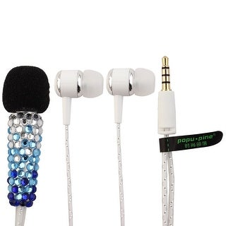 Handheld Portable Faux Rhinestone Decor Mini Microphone Headset Blue for Phone