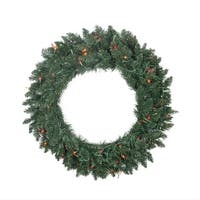 "30"" Pre-lit Traditional Pine Artificial Christmas Wreath - Multi Lights - green"