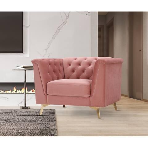 Wide Velvet Modern Armchair