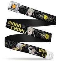 Soul Eater Logo Full Color Black Orange Soul Eater Soul & Maka Chop! Black Seatbelt Belt