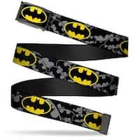 Batman Fcg Black Yellow Chrome Bat Signals Stacked Repeat Gray Black Web Belt