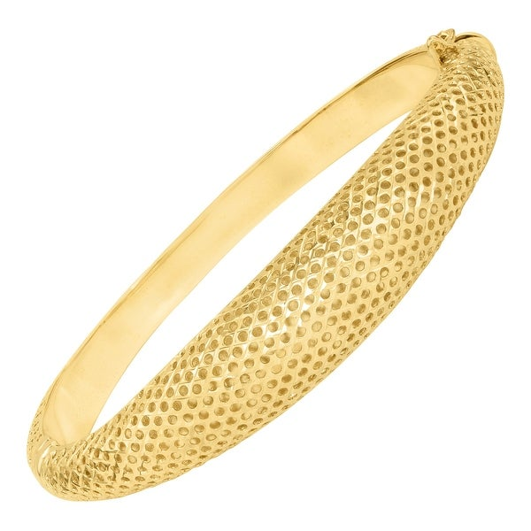Eternity Gold Domed Pierced Bangle Bracelet in 10K Gold