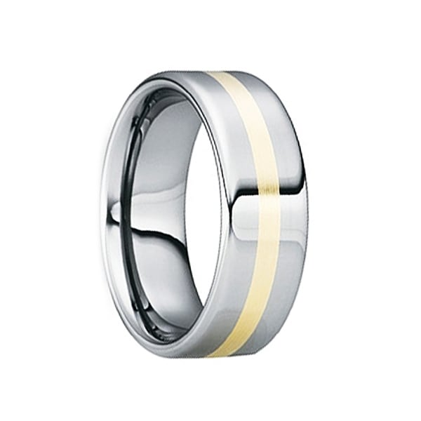 CELSUS Tungsten Carbide 18K Yellow Gold Inlaid Wedding Ring by Crown Ring - 8mm