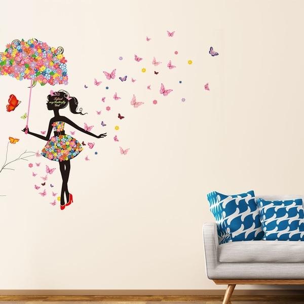 "Umbrella Butterfly Flower Girl Removable Vinyl DIY Wall Art Sticker 35.4""x23.6"". Opens flyout."