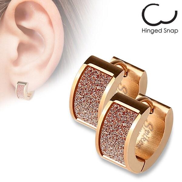 Pair of Rose Gold IP Square Pink Sand Sparkle Stainless Steel Hoop Earrings