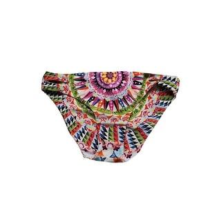 Bar Iii Pink Multi Cartwheels Printed Reversible Cutout Bikini Bottom L